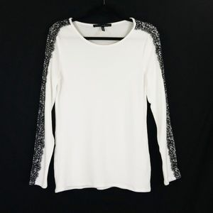 White House Black Market Sz M Lace Trim Knit Top
